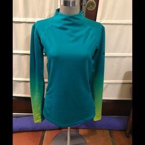 Nike pro hyper warm green long sleeve large